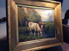 Tableau Ancien XIX e peinture a l'huile : Troupeau de vaches dans le pré