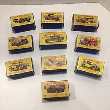 """VINTAGE Lesney MATCHBOX """" MODELS OF YESTERYEAR - CARS WITH BOXES - LOT OF 10 - A"""