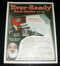 "1919 OLD MAGAZINE PRINT AD, EVER-READY X3X ""RADIO"" BLADES, AND SAFETY RAZOR ART!"
