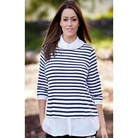 Navy and White Striped Blouse Top Size 20 22 24 26 28 (202)
