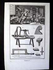 PELLE,LAVORAZIONE CUOIO,MESTIERI,ARTIGIANI,DIDEROT,1780,INCISIONE,STAMPA ANTICA