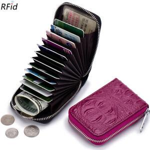 RFID Blocking Genuine Leather Credit Card Case Holder Security Travel Wallet US