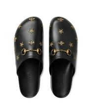Mens GUCCI Horsebit embroidered star bee leather slipper Mules in Black sz 8G