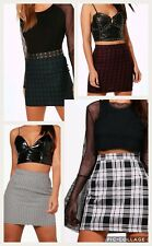 Ladies Women Woven Tartan A Line Mini Skirts UK Size 8-14