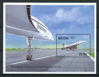 Bhutan Aviation Stamps 1988 MNH Concorde London New York 10th Anniv 1v S/S