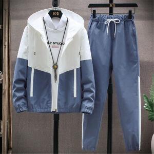 Mens Oversized Tracksuit 2 Piece Casual Pants Hoodie Sweatsuit Sweatshirt Set
