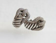 David Yurman 925 Silver Diamond Pave' Cable Buckle French Lever Back Earrings