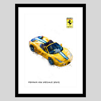 Ferrari 458 Speciale 2015 Gold A3 Watercolour Wall Art Print Home/Office Decor