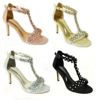 Womens Ladies Mid Heel Diamante Bridal Wedding Sandals Flower Party Shoes Size