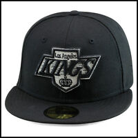 New Era 59fifty Los Angeles LA Kings Fitted Hat Cap All Black/Silver Logo nhl