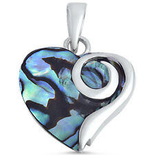 Abalone Shell Heart .925 Sterling Silver Pendant