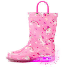 Outee Toddler Kids Adorable Printed Light Up Rain Boots Flashing in Rain