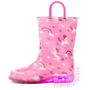 Outee Toddler Kids Cute Print Light Up Rain Boots Variation Flashing in Rain