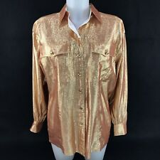 Vintage Escada Gold Blouse Size 36 Metallic Button Down Silk Blend