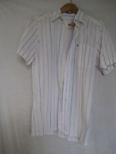 NewMan France short-sleeved white w. blue/red/beige stripes cotton shirt, size 1