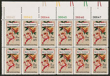US USA Sc# 1580B MNH FVF PL# Block Christmas Angel Bell Louis Prang 10.5x11.3