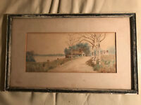 """Antique Chester T Storm """"Rural Home And Landscape Scene"""" Watercolor - Framed"""