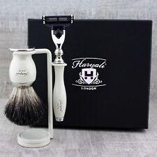 IVORY Shaving Kit Black Badger Brush & Men's Grooming Set Christmas GIFT for Him
