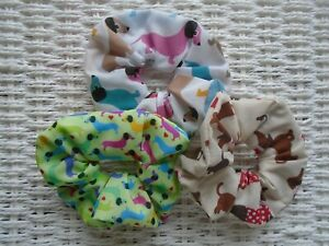 x3 Sausage Dog Dogs Dachshund Dachshunds Hair Scrunchies Scrunchy Tie Band Gift