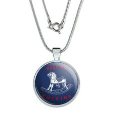 """Keep on Rocking Horse Funny Humor 1"""" Pendant with Sterling Silver Plated Chain"""