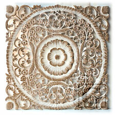 "23.5"" White Lotus Flower Teak Wood Hand Carved Home Decor Wall Panel Art gtahy"