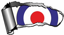 LARGE Ripped Open GASH Rip Torn Metal MOD Style RAF Roundel Target Car Sticker