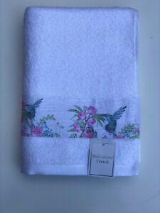 White 100% Cotton Hummingbird Embroidered Towel