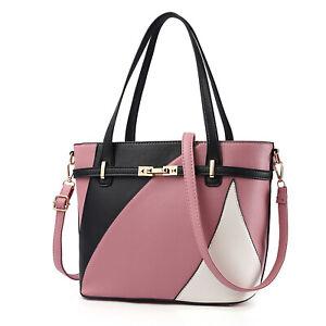 Schwarz-Rosa-Weiß Damentasche Leder Frauen Handtasche Schultertasche Tragetasche