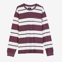 Stussy FRANKLIN Stripe Long Sleeve Crew Tee Shirt Size M 1140130 BERRY