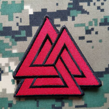 Triangles Valknut Odin Hook Patch Thor Norse Viking Pagan Morale Red Ops Dark