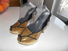 Gold Sequin Topshop Heels Shoes Size 6 39