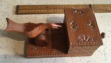 More details for fabulous carved vintage wooden cigarette dispenser, carved bird, moveable