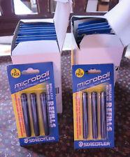 12- STAEDTLER MICROBALL ROLLER PEN REFILLS;  BLUE ~ #447