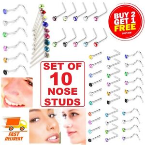 10x Nose Studs Set I L Screw Shape Silver Ball End Gold Clear Pin Surgical Steel