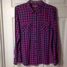 EDDIE BAUER GIRLS LONG SLEEVE BUTTON FRONT FLANNEL TOP SHIRT, SIZE XLARGE