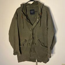 GAP Military Hooded Jacket Cargo Oversized Mens Sz M Olive Green Parka Fishtail