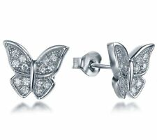 .925 Sterling Silver Cz Stone Cubic Zirconia Butterfly Earrings Studs SSE2676