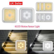 6 LED Motion Sensor Night Light Wall Closet Cabinet Stair Wireless Light Lamp UK