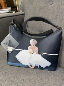 Marilyn Monroe Small Shoulder Bag Purse Black Plaid Lining Zipper Close