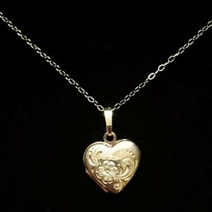9 Carat Gold Chased Heart Locket Pendant Necklace. Fine Cable Link Chain