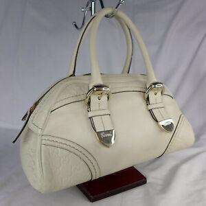 Authentic Gucci Cream GG Guccissima Leather Small Boston Bowling Handbag VGC