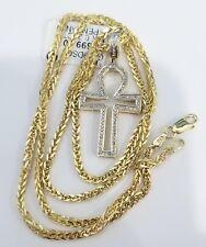 10K Yellow Gold Ankh Angel Wing Cross Pendant Charm Diamond 20 Inch Franco Chain