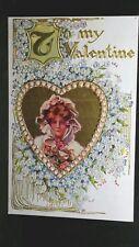 Vintage Valentine Post Card Gold Gilt Heart & Letters Unused