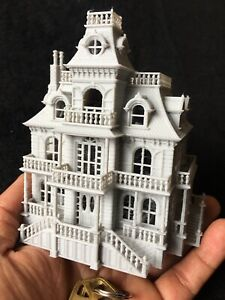Gold Rush Bay N-Scale Miniature Haunted House +INTERIORS Victorian Mansion Gray
