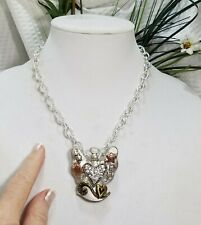 Vintage Silver Tone Angel Pendant with Crystal Heart Chain Link Choker Necklace