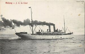 POSTCARD  SHIPS  ESTJERG - J C La Cour  CIRCA  - 1907