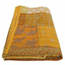 Yellow Patchwork Kantha Quilt Indian Handmade Cotton Comforter Blanket Bedding