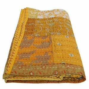 Yellow Patchwork Kantha Quilt Indian Handmade Cotton Comforter Blanket Bedding