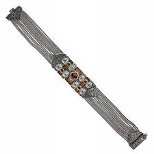Savati ~ Solid Gold, Sterling Silver with Garnet Byzantine Multi Chain Bracelet