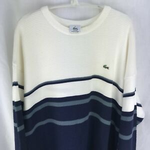 Lacoste Sweater Men's 8 2XL Ivory Blue Long Sleeve Pull Over Crew neck XXL